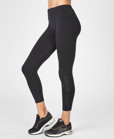 Contour 7/8 Workout Leggings, Black Logo | Sweaty Betty