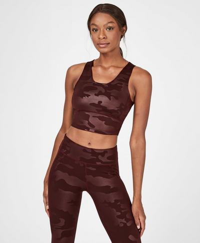 Kenza Cropped Workout Tank, Black Cherry   Sweaty Betty
