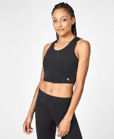 Kenza Crop Workout Tank, Black Logo | Sweaty Betty