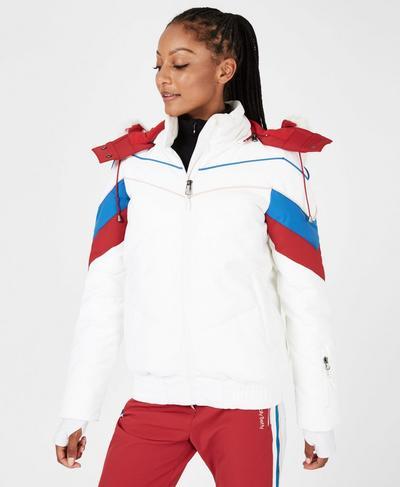 Powder Primaloft Snow Puffa Jacket, White Colourblock | Sweaty Betty