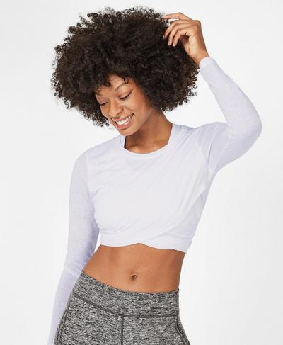 Bohemian Long Sleeve Crop Top, White | Sweaty Betty