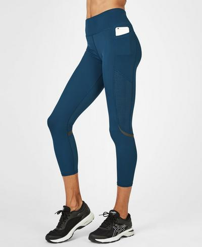 Zero Gravity High Waisted 7/8 Running Leggings, Beetle Blue | Sweaty Betty