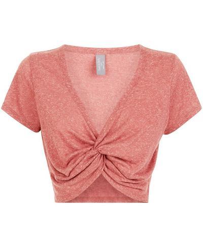 Arc Knot Crop Workout T-Shirt, RUST | Sweaty Betty