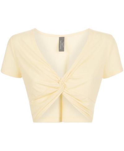 Arc Knot Crop Workout T-Shirt, Yellow | Sweaty Betty