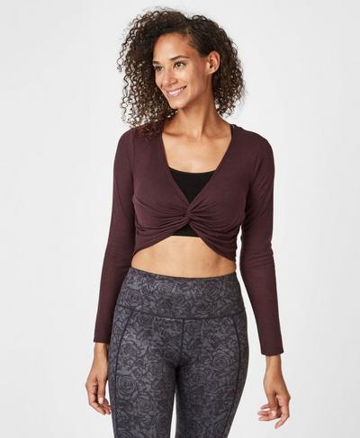 Arc Long Sleeve Top, Black Cherry | Sweaty Betty