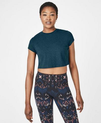 Free Run Cropped T-shirt, Beetle Blue | Sweaty Betty