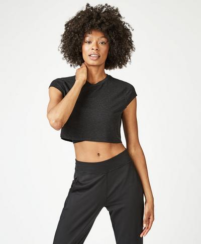 Free Running Crop Workout T-Shirt, Black   Sweaty Betty