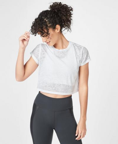 Free Running Crop Workout T-Shirt, White | Sweaty Betty