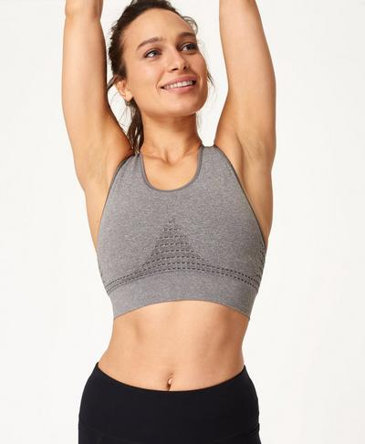 Stamina Sports Bra, Charcoal Marl | Sweaty Betty