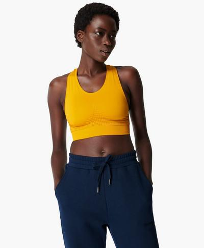Stamina Sports Bra, Golden Yellow | Sweaty Betty