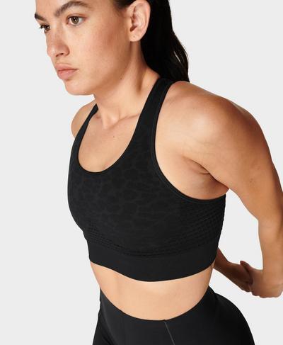 Stamina Workout Bra , Grey Leopard | Sweaty Betty