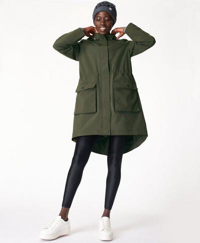 Stride Waterproof Parka, Dark Forest Green | Sweaty Betty