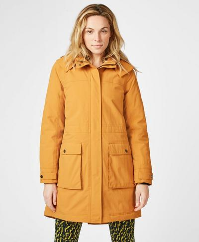 Stride Winter Waterproof Parka, Mustard | Sweaty Betty