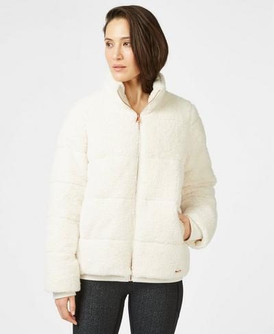 Sherpa Zip Through Bomber Jacket, Winter White | Sweaty Betty