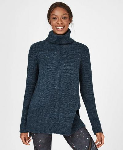 Shakti Wool Blend Sweater, Beetle Blue | Sweaty Betty