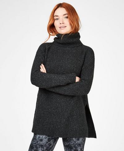 Shakti Wool Blend Sweater, Black Marl | Sweaty Betty