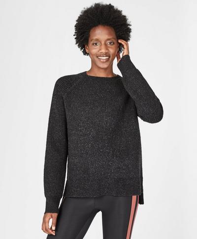 Shakti Crew Neck Wool Blend Sweater, Black Marl | Sweaty Betty