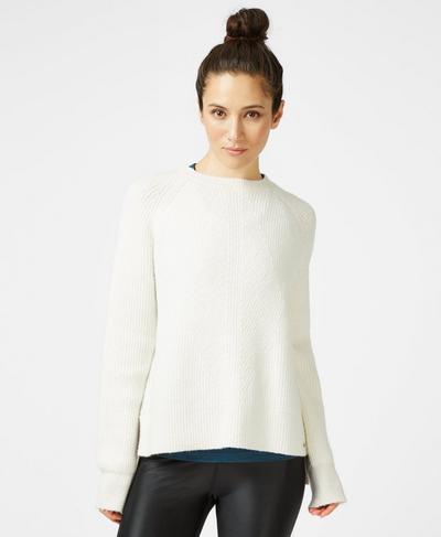 Shakti Crew Neck Wool Blend Sweater, Lily White | Sweaty Betty