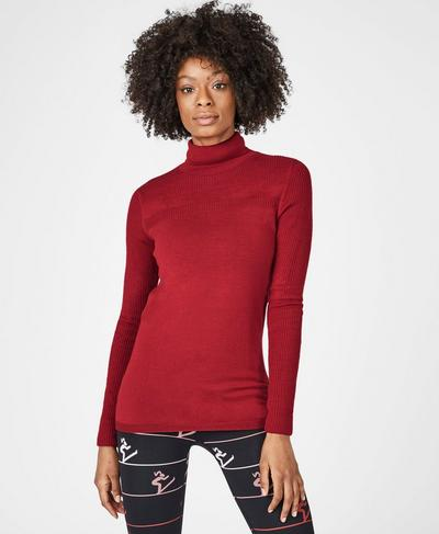 Alpine Merino Turtleneck Knitted Jumper, Retro Red | Sweaty Betty