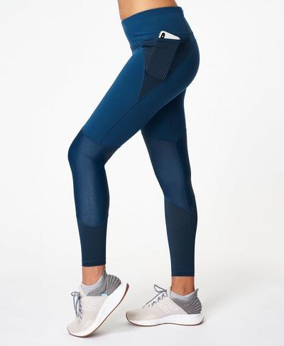 Power Mesh Gym Leggings, Beetle Blue | Sweaty Betty