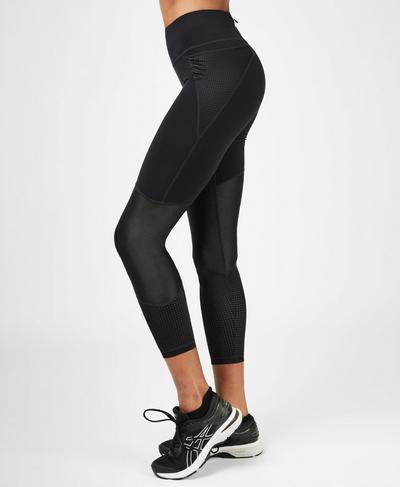 Power Mesh 7/8 Gym Leggings, Black | Sweaty Betty