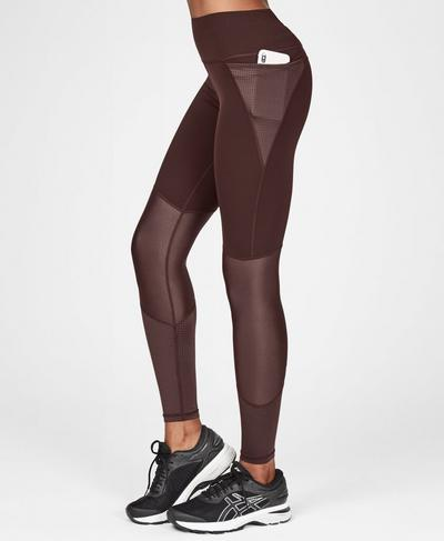 Power Shine Mesh Workout Leggings, Black Cherry | Sweaty Betty