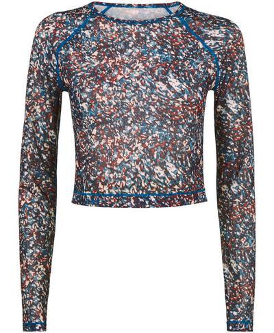 Strike Crop Long Sleeve Top, Pink Pebble Print | Sweaty Betty