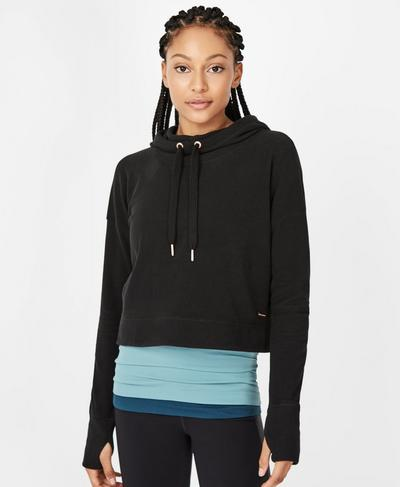 Restore Luxe Crop Hoodie, Black | Sweaty Betty