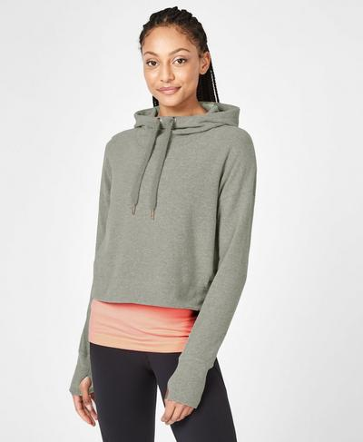 Restore Luxe Crop Hoodie, Light Grey Marl | Sweaty Betty