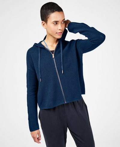 Mesh Up Zip Through Hoodie, Beetle Blue | Sweaty Betty