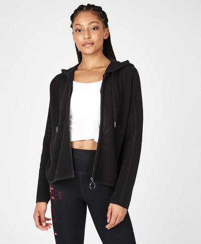 Mesh Up Zip Through Hoodie, Black | Sweaty Betty