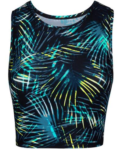 Homestraight Running Vest, Black Neon Tropical Print | Sweaty Betty