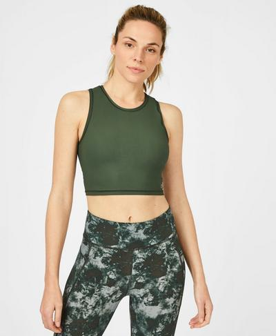 Homestraight Running Tank, Dark Forest Green | Sweaty Betty