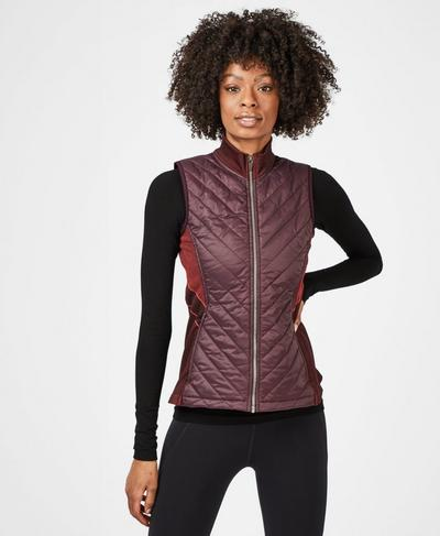Speedy Seamless Running Gilet, Black Cherry Tulip Red | Sweaty Betty