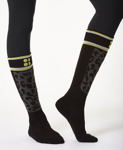 Technical Ski Sock, Slate Grey Leopard Print | Sweaty Betty