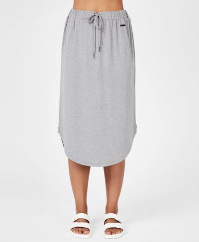 Bohemian Draw String Skirt, Light Grey Marl | Sweaty Betty