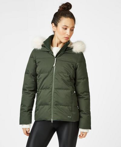 North Pole Short Primaloft Jacket, Dark Forest Green | Sweaty Betty