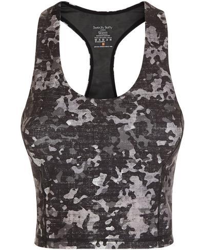 Power Crop Workout Vest, Monotone Camo Print | Sweaty Betty