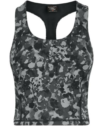 Power Crop Gym Vest, Monotone Patch Print | Sweaty Betty