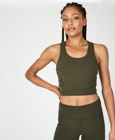 Power Crop Workout Tank, Olive | Sweaty Betty