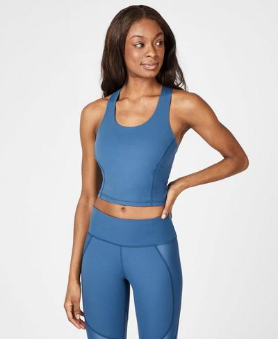 Power Crop Workout  Vest, Stellar Blue | Sweaty Betty
