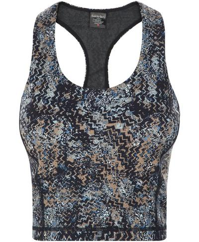 Power Crop Workout Tank, Storm Blue Wood Block Print | Sweaty Betty