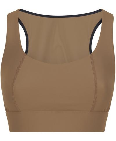 Studio Open Back Sports Bra, Dark Taupe | Sweaty Betty