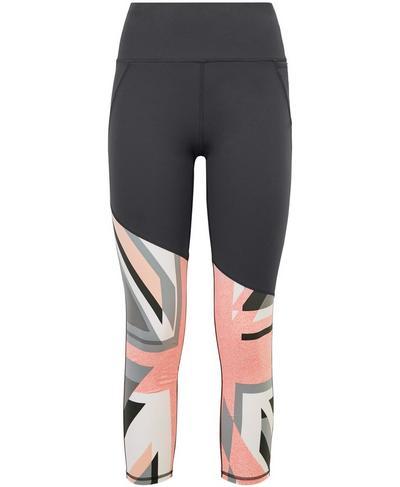 Power Workout Leggings, Grey Union Jack Print | Sweaty Betty