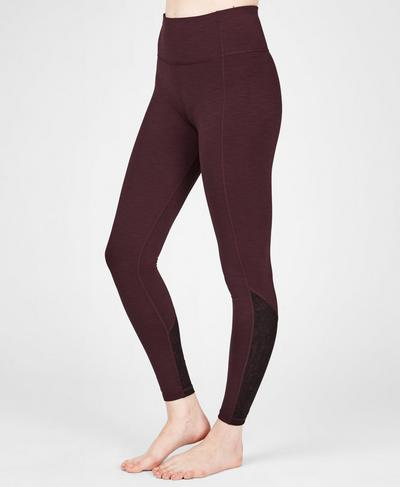 Super Sculpt Mesh Yoga Leggings, Black Cherry | Sweaty Betty