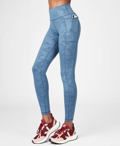 Super Sculpt High Waisted Mesh Yoga Leggings, Stellar Blue | Sweaty Betty