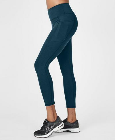 Super Sculpt High Waisted 7/8 Yoga Leggings, Beetle Blue | Sweaty Betty