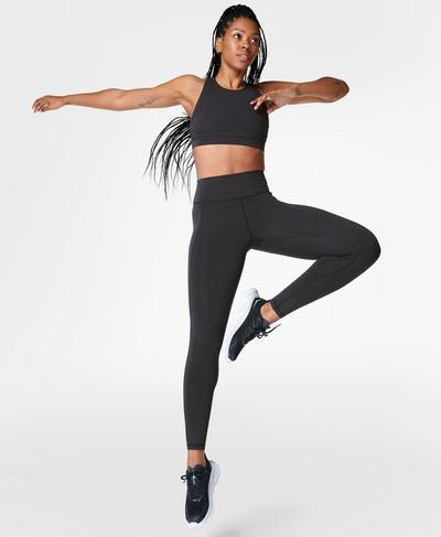 Super Sculpt High Waisted Yoga Leggings, Black Marl | Sweaty Betty