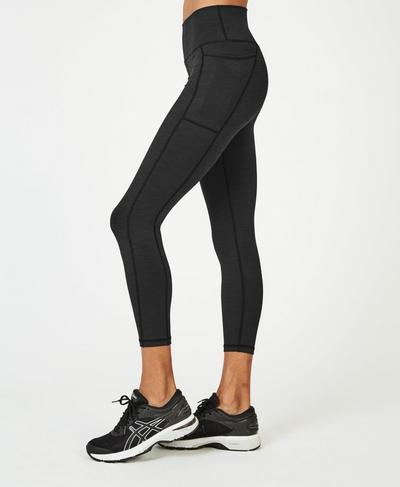 Super Sculpt 7/8-Yogaleggings mit hohem Bund, Black Marl | Sweaty Betty