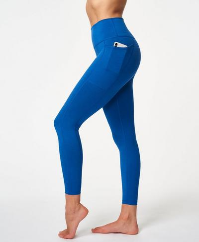 Super Sculpt High Waisted 7/8 Yoga Leggings, Blue Quartz Marl   Sweaty Betty